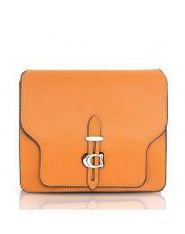 Дамска чанта в кафяво с голям капак и ефектна закопчалка - код R1075