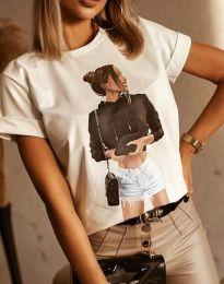 Бяла тениска с ефектен принт - код 1538