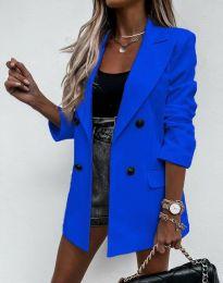 Елегантно дълго дамско сако в синьо - код 3716
