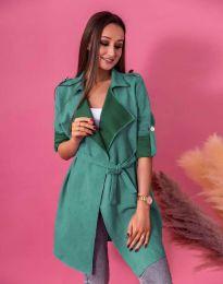 Атрактивно дълго дамско сако велур с колан в зелено - код 7893