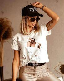 Бяла тениска с ефектен принт - код 1533
