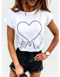 Дамска тениска в бяло с принт - код 2266