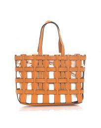 Дамска чанта в кафяво преплетена тип кошница - код LS563