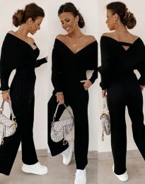 Елегантен дамски комплект блуза и панталон в черно - код 0931