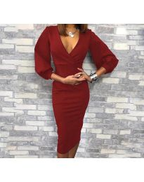 Obleka - koda 8706 - 2 - bordo