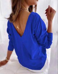 Свободна елегантна дамска блуза с гол гръб в синьо - код 5173