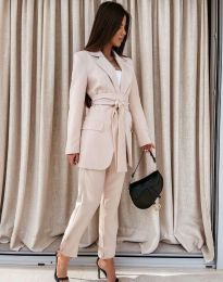 Дамски комплект сако с колан и панталон в бежово - код 0477