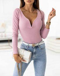 Стилна дамска блуза рипс с дълбоко деколте в цвят пудра - код 12048