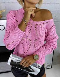 Дамски пуловер с едра плетка в розово - код 4781