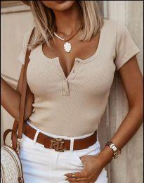 Дамска тениска рипс в бежово с копчета - 3233