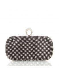 Чанта тип клъч в черно с метален корпус и камъни - код CK3315