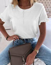 Дамска тениска в бяло с къдрички - код 11763