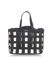 Дамска чанта в черно преплетена тип кошница - код LS563