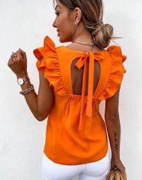 Дамски топ с къдрички и ефектен гръб в оранжево - код 3432 - гръб