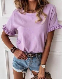 Дамска тениска в светлолилаво с къдрички - код 11763
