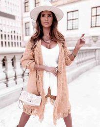 Ефектна дълга плетена дамска жилетка в цвят праскова - код 4702