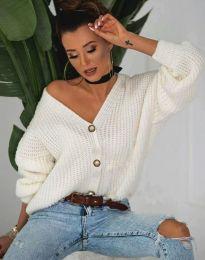 Къса плетена дамска жилетка с копчета в бяло - код 4087