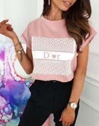 Тениска с ефектен принт в розово - код 11944